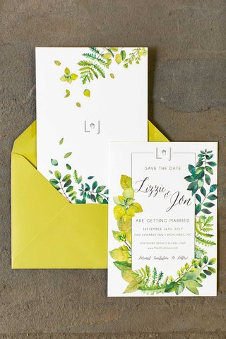 wedding-invitation-suite-save-the-date-yellow-envelope-and-flowers-greenery