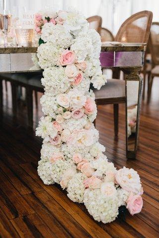 wedding-reception-wood-floor-mirror-table-with-white-hydrangea-blush-rose-flower-runner-on-floor