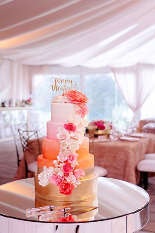 wedding-cake-gold-coral-orange-pink-white-fondant-design-calligraphy-cake-topper-sugar-flowers