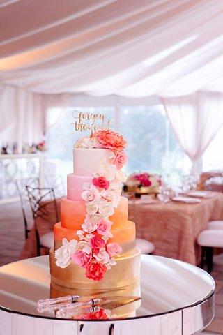 wedding-cake-gold-coral-orange-pink-white-fondant-design-calligraphy-cake-topper-sugar-flowers