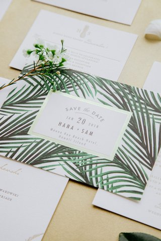 wedding-invitation-suite-destination-wedding-hawaii-save-the-date-invite-gold-border-green-palm-tree