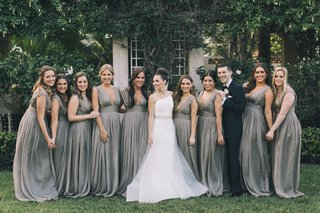 bride-in-romona-keveza-beaded-belt-bridesmaids-in-grey-monique-lhuillier-gowns-bridesman-in-suit