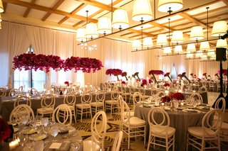 indoor-reception-gray-details-bold-florals-southern-california-wedding-ball-room-white-chairs-love