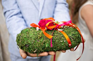 ring-bearer-pillow-covered-with-moss-hot-pink-and-orange-rose-flowers-and-ribbons