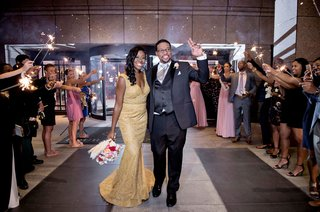 bride-in-gold-fit-and-flare-second-wedding-dress-sparkler-exit-at-hotel-wedding