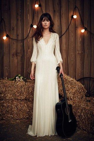 jenny-packham-2017-bridal-collection-long-sleeve-v-neck-wedding-dress-beading-sheath