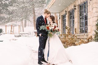 beauty-beast-movie-styled-wedding-shoot-snow-utah-la-caille-restaurant-french-bouquet-blue-red-white