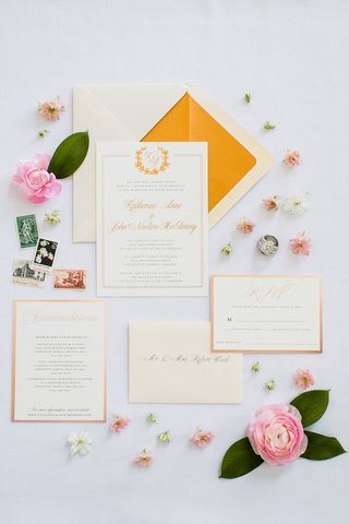 wedding-invitation-charlotte-north-carolina-wedding-monogram-gold-border-orange-yellow-elegant-foil