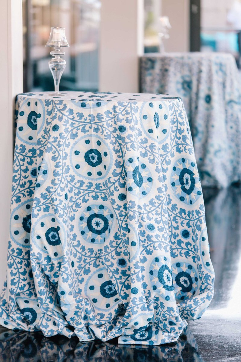 Playful Blue and White Patterned Table Linens