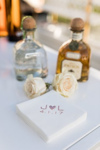 wedding-bar-patron-tequila-blano-and-gold-with-beverage-napkins-initial-heart-design-wedding-date