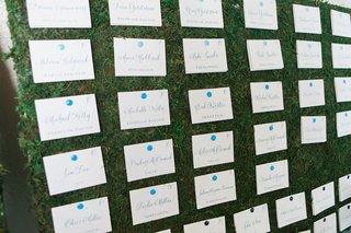 wedding-reception-escort-cards-in-calligraphy-with-blue-pins-on-grassy-board