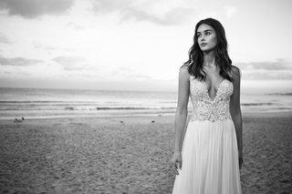 black-and-white-photo-of-lihi-hod-2016-plunging-neckline-beaded-wedding-dress