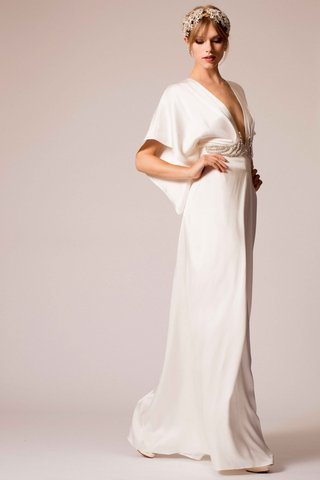 temperley-bridal-2016-v-neck-draped-wedding-dress-with-beaded-belt