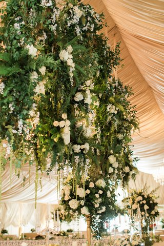 wedding-reception-champagne-gold-tent-with-chandeliers-and-flowers-greenery-white-gold-green-decor