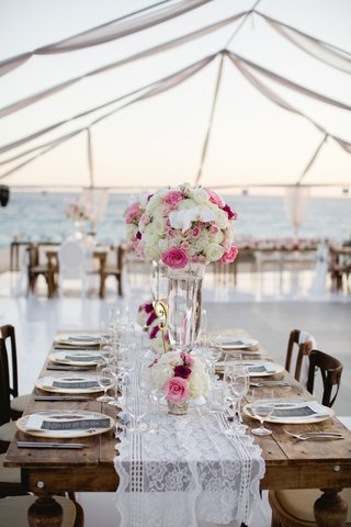 wood-table-lace-runner-wedding-reception-barbie-blank-sheldon-souray-high-and-low-white-pink-flowers