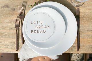 wedding-reception-modern-menu-circle-with-lets-break-bread-in-the-middle-copper-flatware