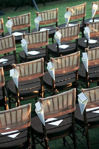 alfresco-wedding-ceremony-black-chairs-with-petal-cones