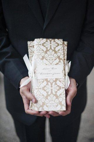 gold-and-white-damask-print-wedding-ceremony-program