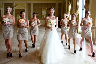 short-bridesmaid-dresses-with-black-high-heels