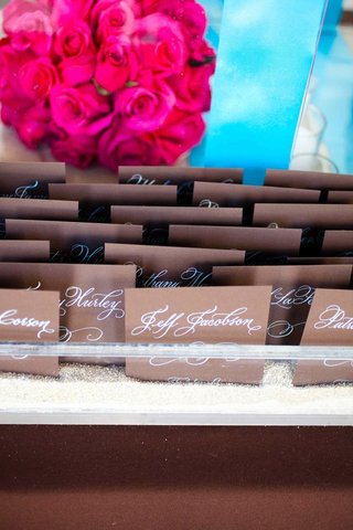 seating-cards-with-calligraphy-on-chocolate-stationery