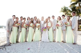 bride-and-groom-with-casual-groomsmen-and-bridesmaids