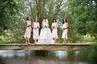 pale-pink-bridesmaid-dresses-on-wyoming-bridge