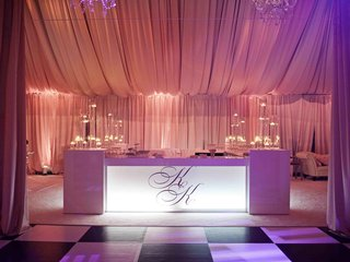 checkered-dance-floor-and-monogrammed-bar