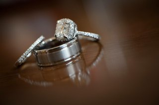 platinum-grooved-wedding-band-and-diamond-rings