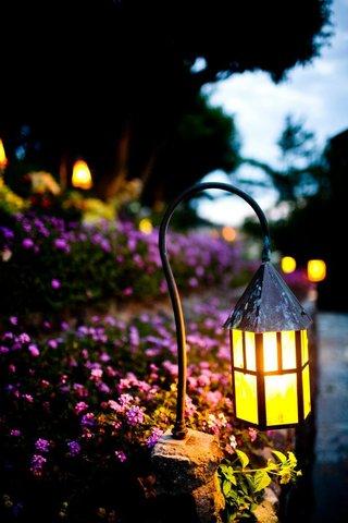 bright-lantern-next-to-purple-flowers-and-stone-walk-path