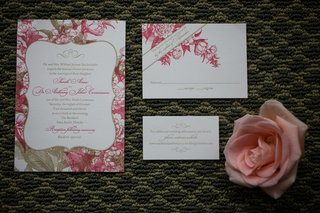 wedding-invite-with-pink-flowers-and-champagne-leaves