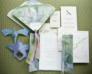 garden-theme-wedding-invitation-program-and-map