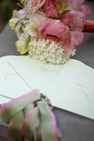 pink-and-green-stationery-fans-for-wedding-ceremony