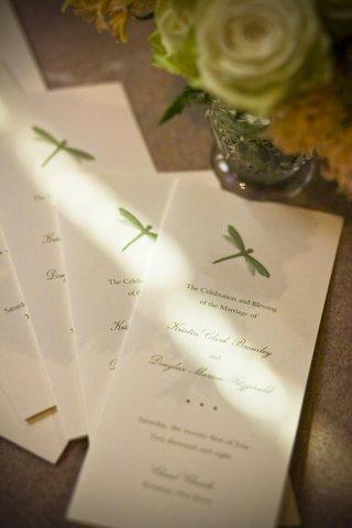 garden-wedding-program-with-dragonfly-motif