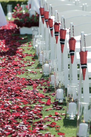 grassy-aisle-with-red-rose-petals-and-petal-cones-on-ceremony-chairs