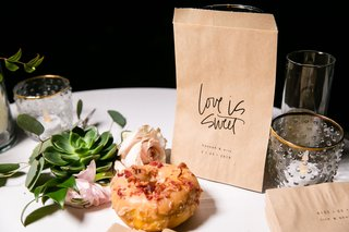 donut-maple-and-bacon-with-kraft-paper-love-is-sweet-to-go-take-home-bag-succulent-pink-flower-favor
