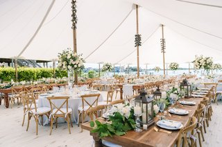 backyard-tented-wedding-reception-garland-runner-with-lanterns