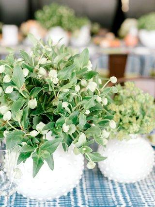 bridal-shower-flower-arrangement-short-centerpiece-ideas-greenery-white-round-vase-with-studs