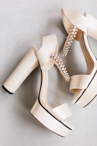 wedding shoes ivory jimmy choo platform heels with open toe and heel rhinestone ankle strap