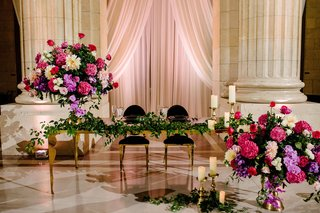 A Charming Fete Fuchsia Table Décor wedding reception gold seating