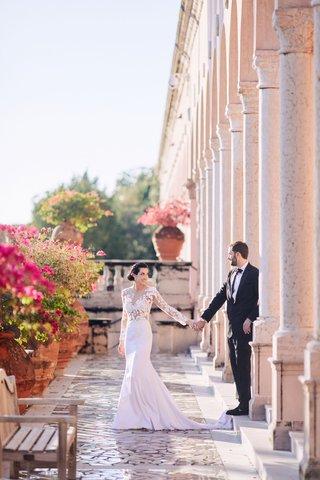 bride-in-pronovias-wedding-dress-with-lace-bodice-crepe-skirt-groom-in-tuxedo-ca-dvan-wedding