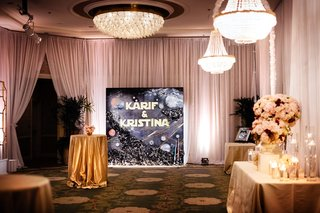wedding reception four seasons hotel los angeles crystal ballroom star wars themed photo booth backdrop custom