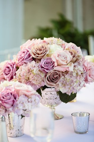 wedding-reception-centpiece-of-light-puple-and-pastel-pink-roses-purple-tinged-hydrangeas