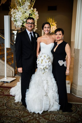 bride-in-strapless-ines-di-santo-wedding-dress-with-mother-in-black-dress-bow-detail-crystal-father
