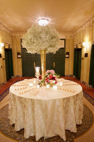 tall-gold-vase-on-round-escort-card-table-filled-with-babys-breath-and-pink-flower-arrangements