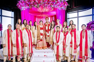 indian-american-bride-and-groom-with-their-bridesmaids-and-groomsmen