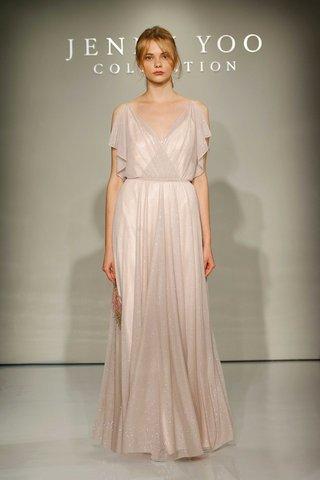 jenny-yoo-bridesmaids-2016-v-neck-glitter-knit-bridesmaid-dress-in-pink