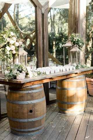 calamigos-ranch-wedding-escort-card-table-on-wine-barrels