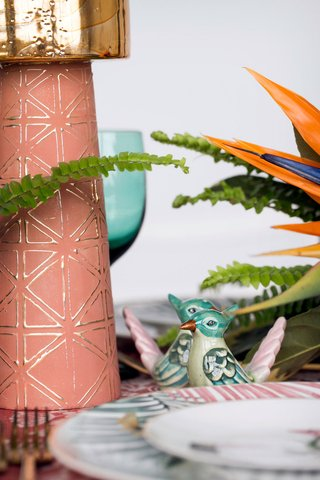 pink-blue-green-bird-shape-salt-and-pepper-shaker-pink-candlestick-gold-bird-of-paradise