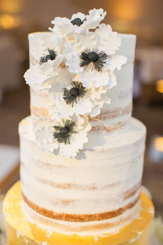 wedding-cake-with-gold-bottom-tier-and-nearly-naket-top-tiers-with-sugar-flower-anemone-blooms