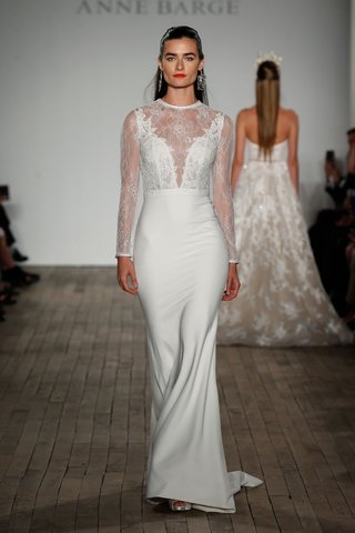 anne-barge-fall-2019-wedding-dress-zaha-high-neck-lace-long-sleeve-bridal-gown-plunging-neck-crepe